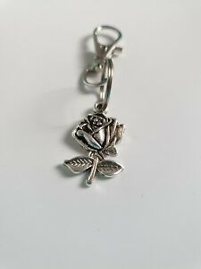Tibetan Silver Flower rose 23mm Keyring/Bag Charm. Present/Gift