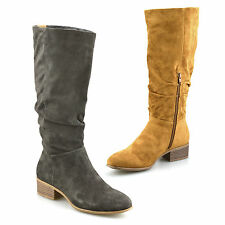 Ladies Womens Knee High Mid Heel Faux Suede Zip Up Biker Riding Boots Shoes Size