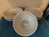 Vintage Stoneware Country Goose Soup/ Cereal Bowls Set Of 7 moonlight