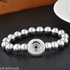 1 Armband 5.5mm Druckknopf Klick Click Wechselschmuck Silber Perlen 22cm