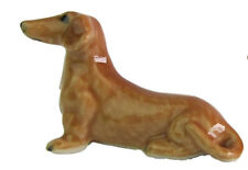 Miniature Porcelain Dachshund Tan Dog Figurine Approx 2.5cm HIgh