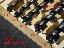 5 PC AUGER DRILL BITS FOR WOOD 8'' LONG 3/8'' 1/2'' 5/8'' 3/4'' 7/8''  WOOD BOX