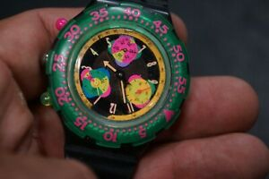 SWATCH SCUBA 1993 - USED - MULTICOLOR, GREEN DIAL. BLACK BAND