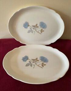 """Pair of Wedgwood bone china """"Ice Rose"""" Oliver plates"""