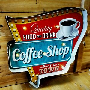 Blechschild Pfeil COFFEE Shop mit LED Lampen Beleuchtung DRINK Kaffee Bar NEU
