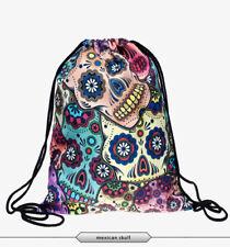 "Multicolor Suger Skull Day Of The Dead 15"" Drawstring Backpack Gym Travel Bag"