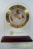 "Howard Miller Clock World Time Gold Brass Glass ""Public Risk Management FL Award"