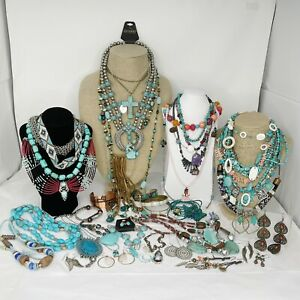Southwest JEWELRY LOT of 40 Turquoise Costume Fashion Jewelry Gemstones Coral 4#