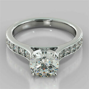 2.32 Ct Round Cut Diamond Solitaire W/Accents Wedding Ring 14K White Gold Over