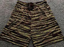 NWT Mens Nike L Black/Yellow Green Graphic Stripe Dri-Fit Shorts Large