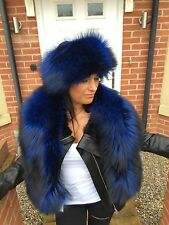 Real  Fox Fur Blue stole,wrap,scarf, Boa size XL