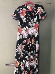 Vintage 90s Summer dress Black Floral Size 10