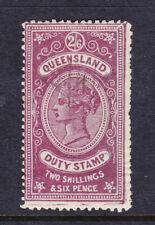 Qld: Stamp Duty 1892 Qv Wmk C Q Sideways 2/6 Purple/Brown