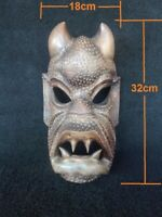 Hand carved vintage wood Headhunters of Philippines tribal wooden devil mask