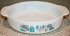 Vintage Art Deco Turquoise/gray Unmarked Milk Glass Mixing Casserole Dish