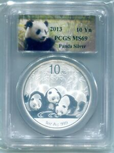 2013 China Panda Silver Coin PCGS MS69 10 Yuan Chinese 1 Ounce Panda Label