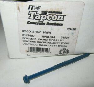 GENUINE Tapcon HW3-314 Hex Washer Head 3/16-Inch by 3-1/4-Inch Anchor 15134