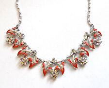 Vintage 1950s Exquisite Style Enamel Aurora Borealis Necklace
