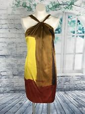 Vince. Multi-Color Abstract Color Block Silk Halter Sleeveless Dress - 6