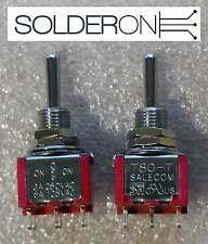 2pcs Mini Toggle Switch DPDT Centre Off Solder Tail - SALECOM S1365