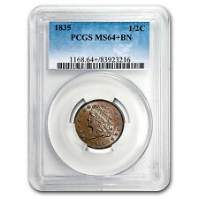 1835 Capped Bust Half Cent Ms-64+ Pcgs (Brown) - Sku#153953