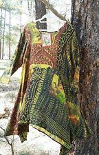 NWT URU TUSCAN GOLD IMPRESSIONIST IKAT SILK SMOCK DRESS XLARGE-ORIG $282