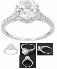 STERLING SILVER DIAMOND SIMULANT SOLITAIRE W/ACCENTS ENGAGEMENT RING SIZE 9
