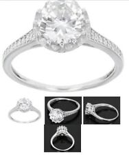 STERLING SILVER DIAMOND SIMULANT SOLITAIRE ACCENTS ENGAGEMENT RING SIZE 9