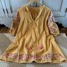 Boho Embroidered Oaxacan Tunic Top Vtg 70s Ins Mustard Blouse Womens LARGE New