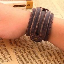 Men Genuine Cow Leather Brown Rock N' Roll Punk Cuff Bracelet Wristband boys NP