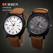 Genuine Leather Band Men's Round 30 m (3 ATM) Watches