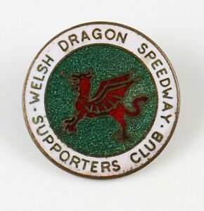 vintage Welsh Dragon Speedway Supporters Club enamel pin badge, unnamed