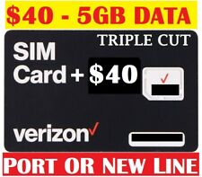 Verizon $40 Plan 4Gb Data Sim Card with First Month Included