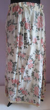 VTG 90s Ladies HGNY Cream Floral Frilled Lined Indian/Hippy Style Skirt Size S