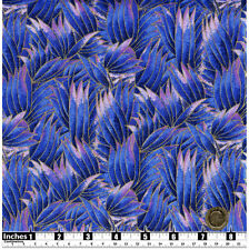 Quilting Fabric Pink Dark Blue Buds Petals Gold Met Fat Quarters 100% Cotton