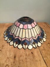 "PRELOVED STAINED GLASS LARGE CEILING / LAMP SHADE 14"" W X 5"" TALL"