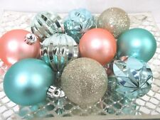 10 coastal beach nautical christmas peach aqua glitter ball ornaments 25 - Beach Christmas Ornaments