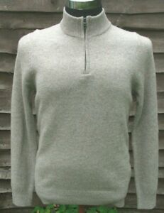 M&S Lambswool 1/2 Zip Jumper Fawn Marl Size S Machine Washable, Tumble Dry