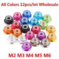 12Pcs M2/M3/M4/M5/M6 Nylon Insert Self-Lock Aluminum Nuts Hex Lock Nut Color Nut