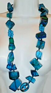 "Sobral 36"" Long Aventuras Indiana Chunky Aqua Blue Artist Made Bead Necklace"