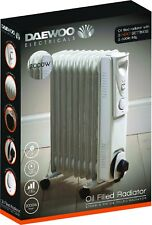 Daewoo White 2000 Watt Floor Standing Oil Filled Radiator Heater with Thermostat