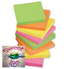5* re-move Sticky Notes Neon 4 Pack 100 Sheets Per Pack 75mm x 75mm