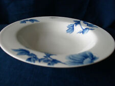 """Royal Worcester Blue Peony 9 1/4"""" replacement china flat rim soup bowl"""