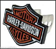"Harley Davidson Shield 1 1/4"" - 2"" Full Color Metal Hitch Plug Receiver Cover"