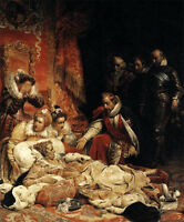Art oil painting Paul Delaroche - The Death of Elizabeth I, Queen of England 36""