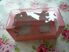 5 x PINK CUPCAKE BOXES for 2 cupcakes with inserts - 20cm x 10cm x 10cm