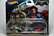 Hot Wheels BATMAN v SUPERMAN 2 Pact Cars Armored Batman Man Of Steel DJP09 New