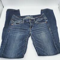 American Eagle Jeans Super Stretch Skinny Denim Blue EUC Sz 00 Short TC