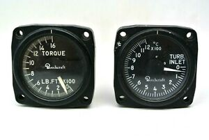 Vintage Beechcraft Airplane Aviation Gauges Turbo Inlet and Torque