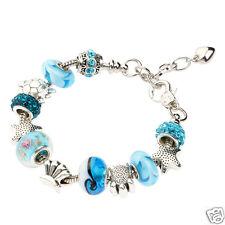 Fashion Bracelet Ocean Shell Blue Crystal Glass Beads Chain Bangle Bracelet Gift